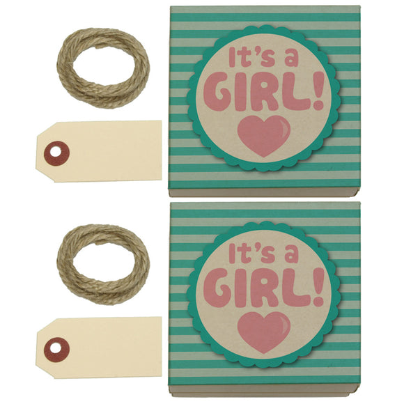 It's A Girl Baby Kraft Gift Boxes Set of 2