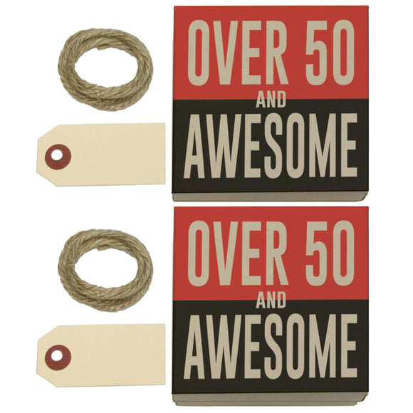 Over Fifty 50 and Awesome Birthday Kraft Gift Boxes Set of 2