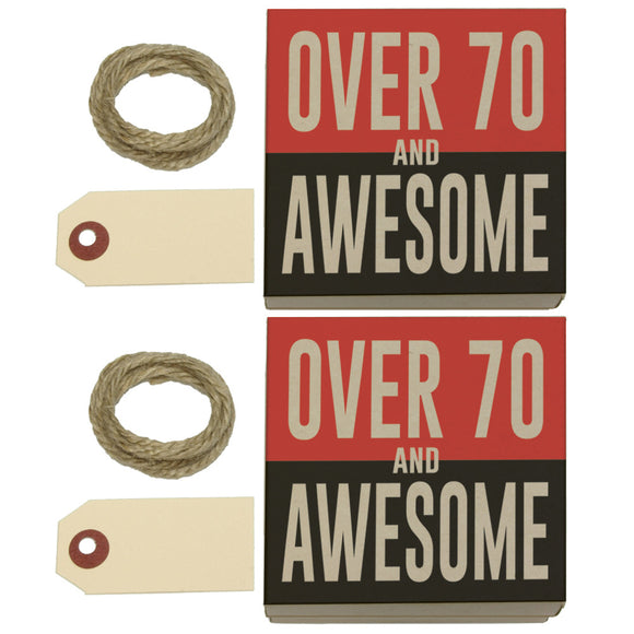 Over Seventy 70 and Awesome Birthday copy Kraft Gift Boxes Set of 2
