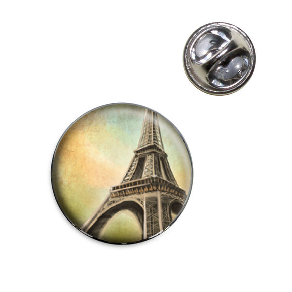 Watercolor Eiffel Tower Lapel Hat Tie Pin Tack