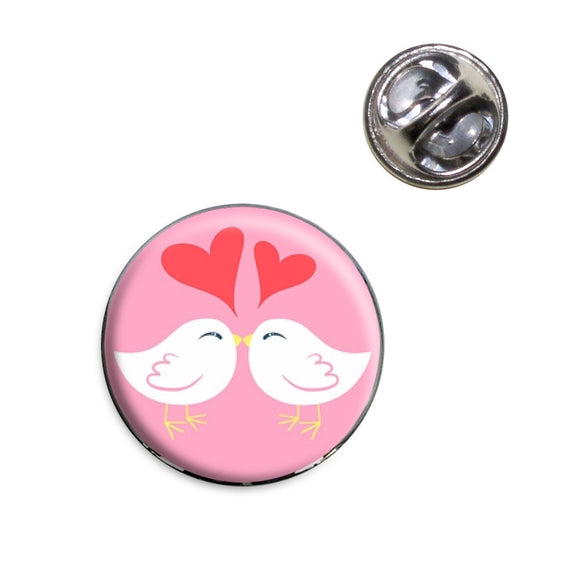Sweet Kissing Birds in Love Pink Lapel Hat Tie Pin Tack