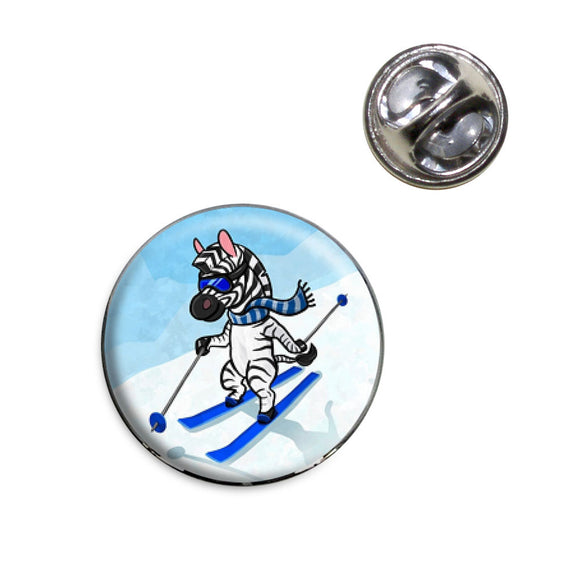 Zebra Skiing Lapel Hat Tie Pin Tack