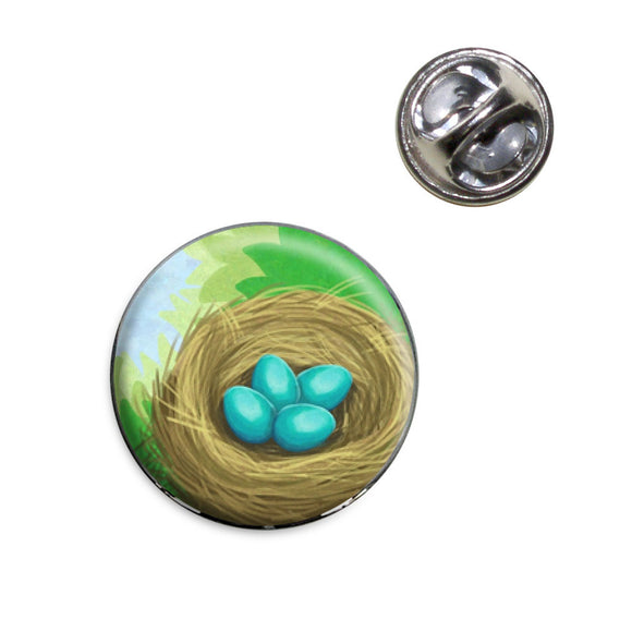 Robin's Nest with Eggs Lapel Hat Tie Pin Tack