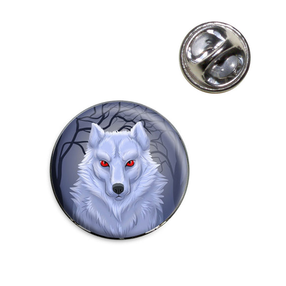 White Dire wolf Lapel Hat Tie Pin Tack