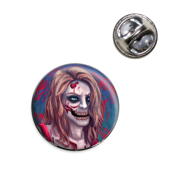 Zombified Girl Lapel Hat Tie Pin Tack