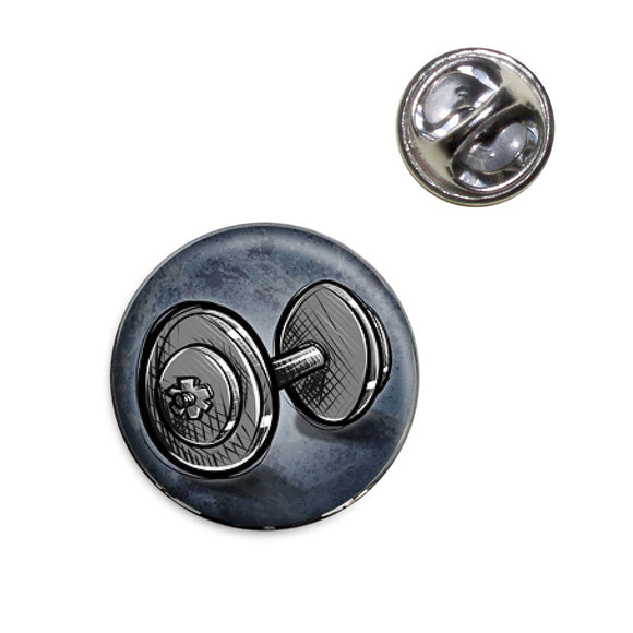 Weight Lifting Dumbbells Lapel Hat Tie Pin Tack