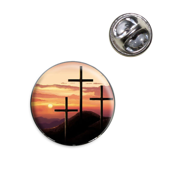 Three Crosses on Hill Lapel Hat Tie Pin Tack