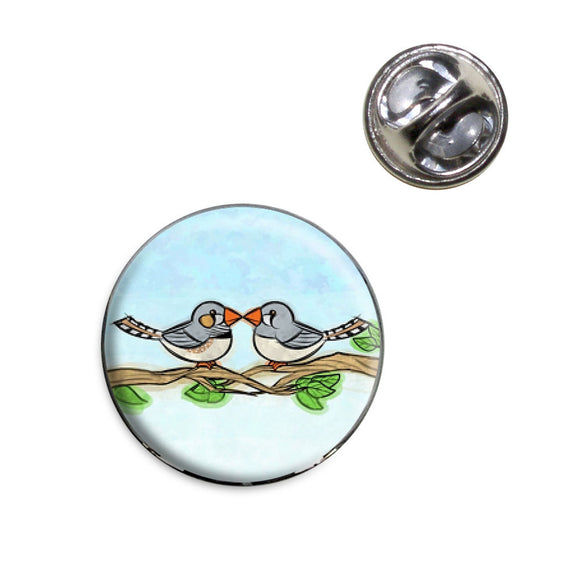 Zebra Finches Kissing Lapel Hat Tie Pin Tack