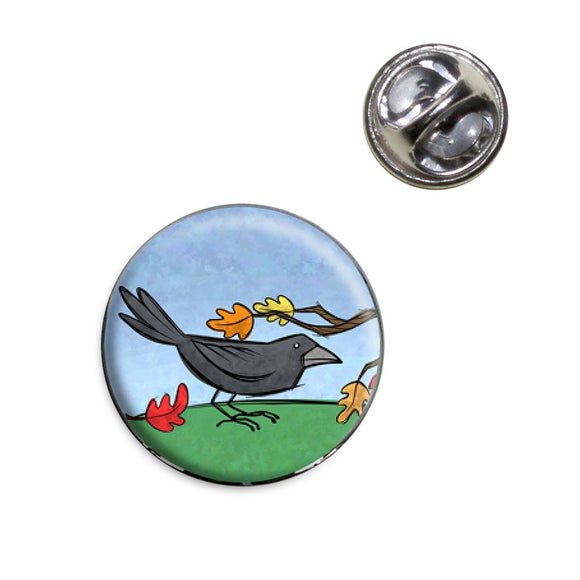 Crow in Autumn Lapel Hat Tie Pin Tack