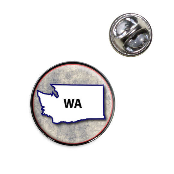 Washington WA State Outline on Faded Blue Lapel Hat Tie Pin Tack