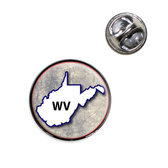West Virginia WV State Outline on Faded Blue Lapel Hat Tie Pin Tack