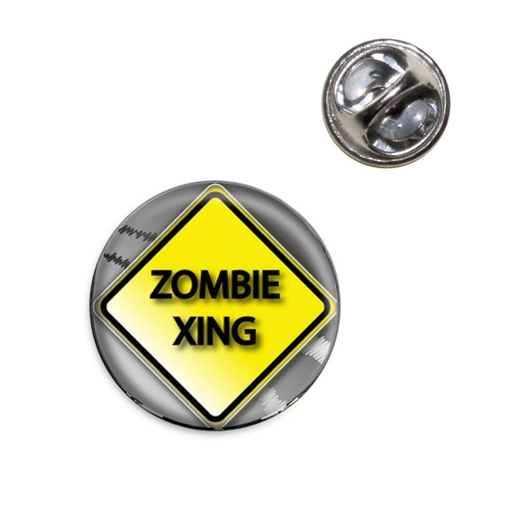Zombie Xing Crossing Stylized Yellow Grey Caution Sign Lapel Hat Tie Pin Tack