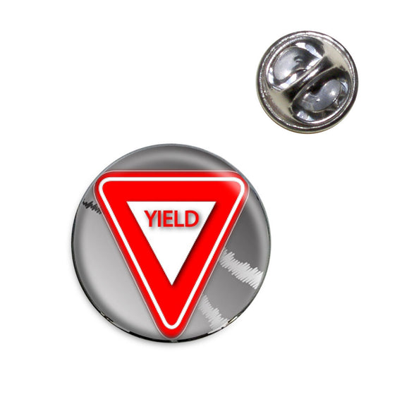 Yield Stylized Red Grey Triangular Sign Lapel Hat Tie Pin Tack