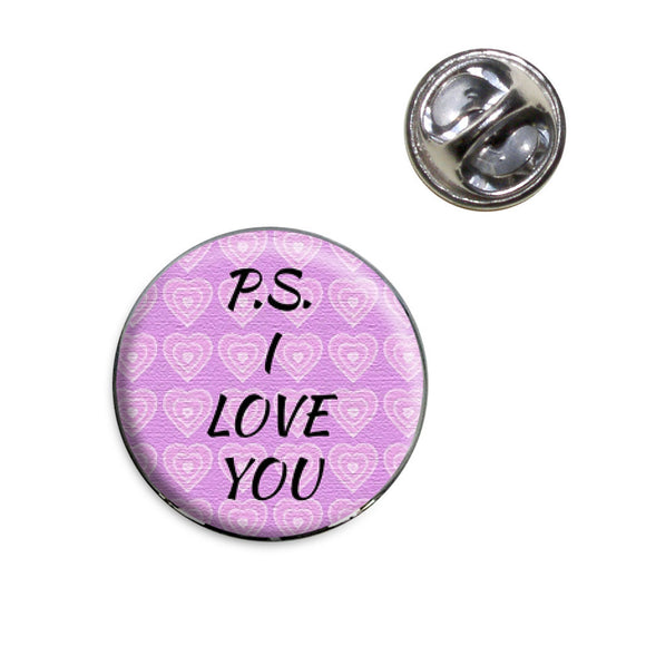 PS I Love You on Pink Hearts Pattern Lapel Hat Tie Pin Tack