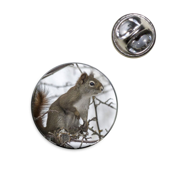 Winter Forest Tree Squirrel Lapel Hat Tie Pin Tack