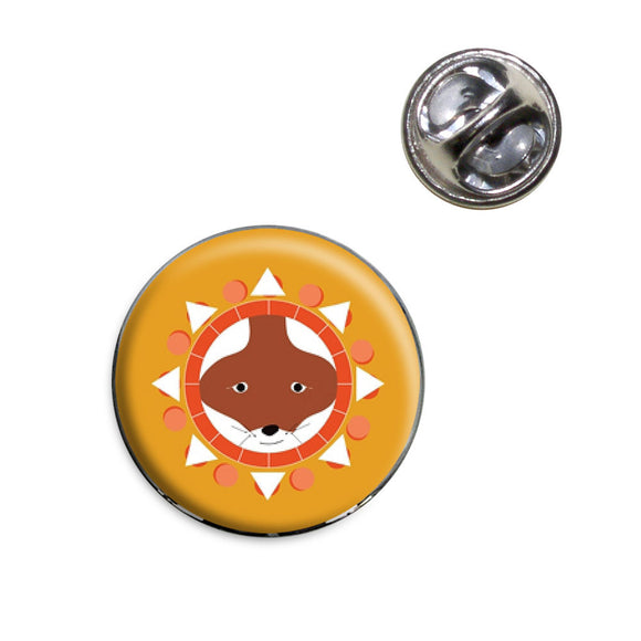 Abstract Fox Geometric 70s Lapel Hat Tie Pin Tack