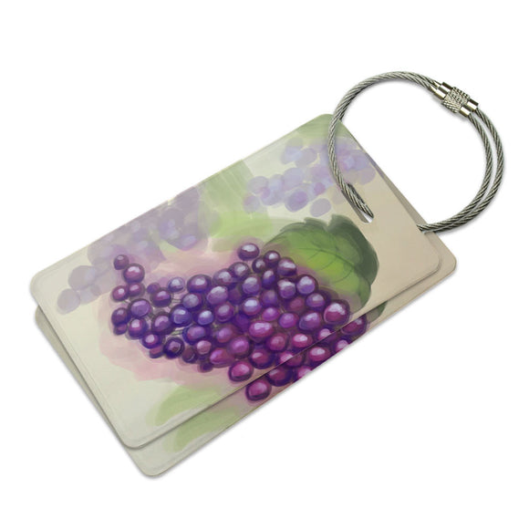 Watercolor Grapes Suitcase Bag ID Luggage Tag Set