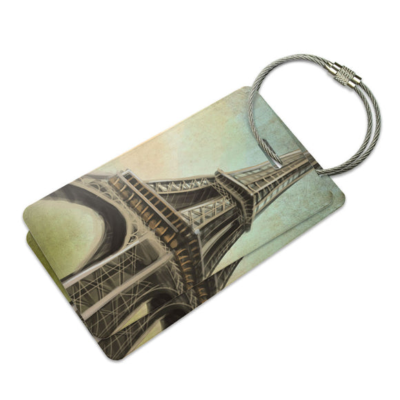 Watercolor Eiffel Tower Suitcase Bag ID Luggage Tag Set