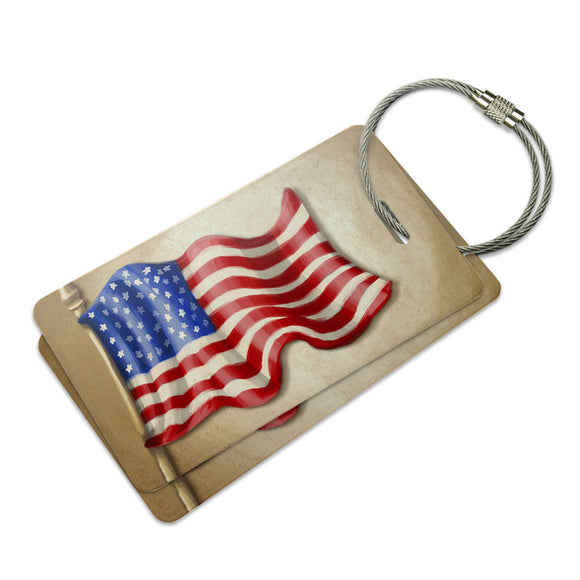 Vintage American Flag Suitcase Bag ID Luggage Tag Set