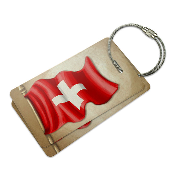 Vintage Swiss Flag Switzerland Suitcase Bag ID Luggage Tag Set