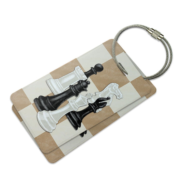Chess Set Pieces Suitcase Bag ID Luggage Tag Set