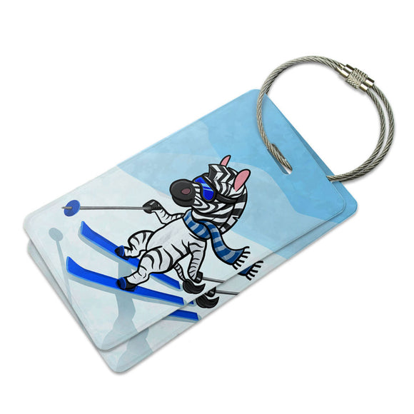 Zebra Skiing Suitcase Bag ID Luggage Tag Set