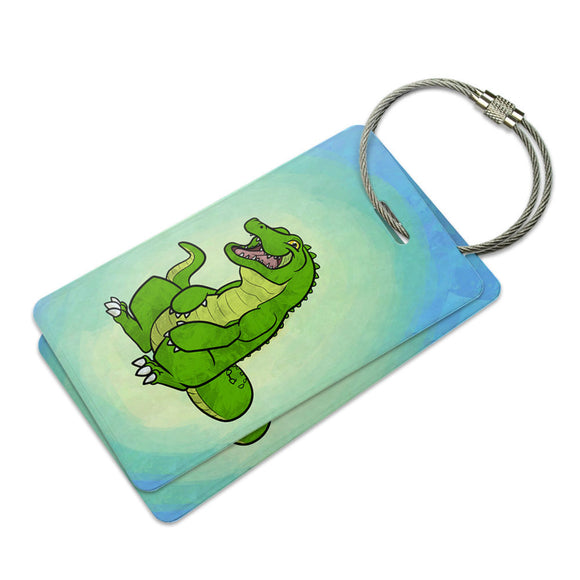 Happy Alligator Suitcase Bag ID Luggage Tag Set