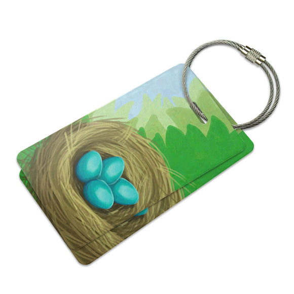Robins Nest with Eggs Suitcase Bag ID Luggage Tag Set