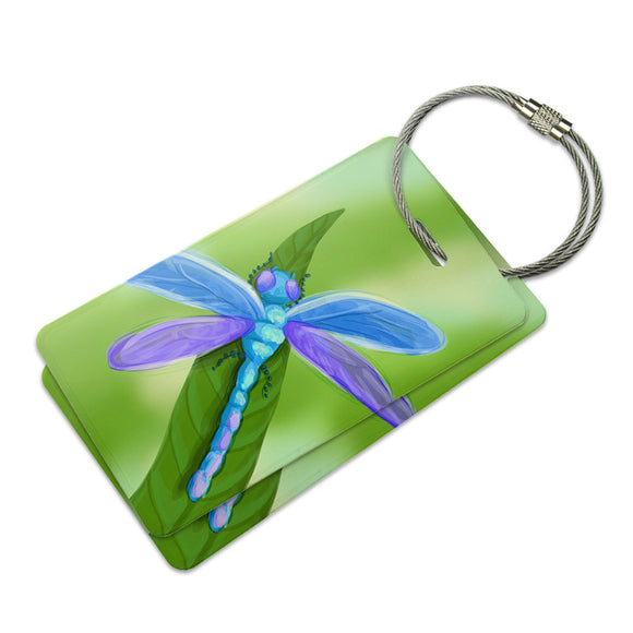 Watercolorful Dragonfly Suitcase Bag ID Luggage Tag Set