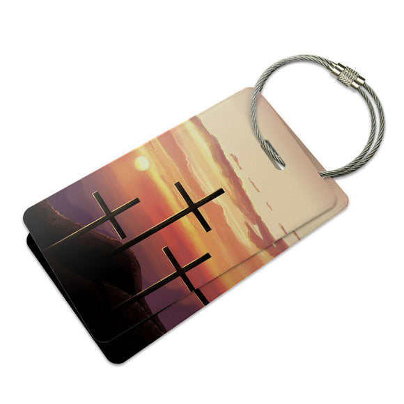 Three Crosses on Hill Suitcase Bag ID Luggage Tag Set