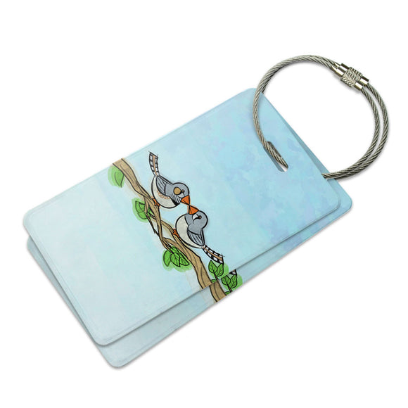 Zebra Finches Kissing Suitcase Bag ID Luggage Tag Set