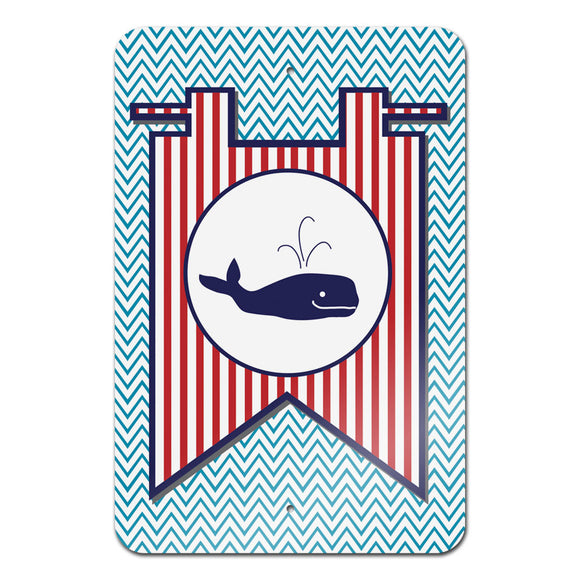 Whale Flag on Blue Chevron Nautical Novelty Metal Sign 18