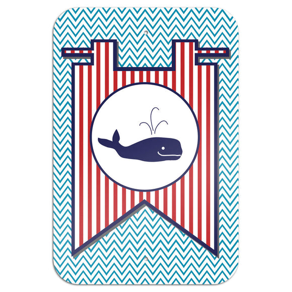 Whale Flag on Blue Chevron Nautical Novelty Metal Sign 6