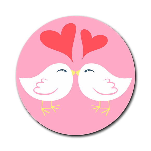 Sweet Kissing Birds in Love Pink Mouse Pad