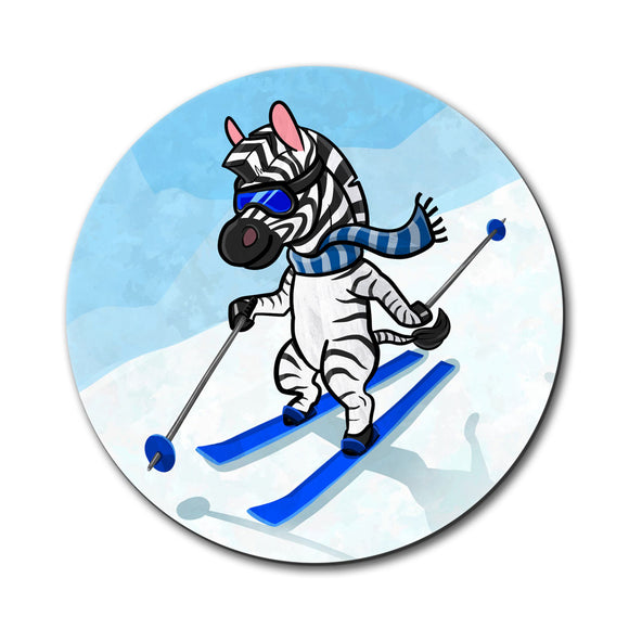 Zebra Skiing Mouse Pad
