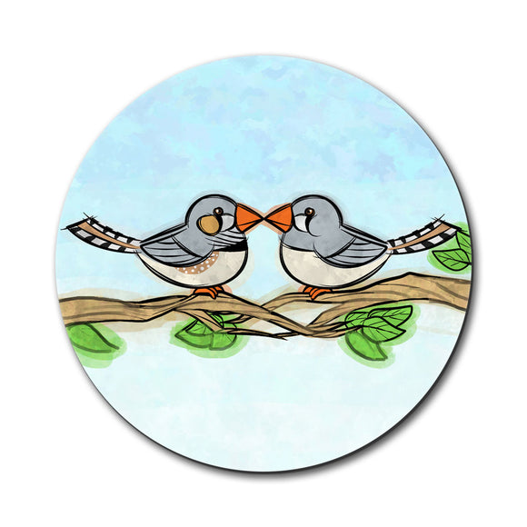 Zebra Finches Kissing Mouse Pad