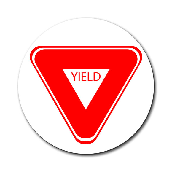 Yield Basic Red White Road Sign Mouse Pad