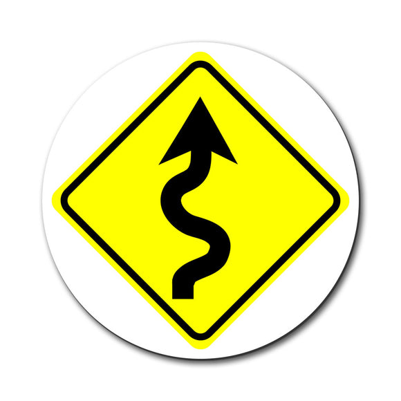 Winding Curvy Road Ahead Basic Yellow Sign Mouse Pad