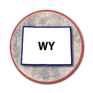 Wyoming WY State Outline on Faded Blue Mouse Pad
