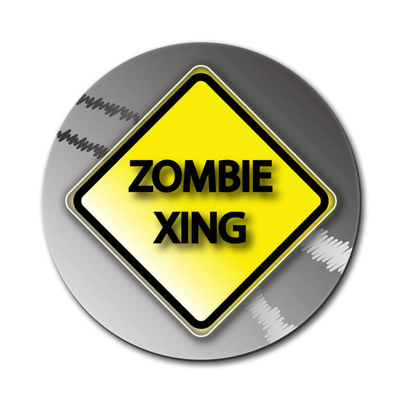 Zombie Xing Crossing Stylized Yellow Grey Caution Sign Mouse Pad