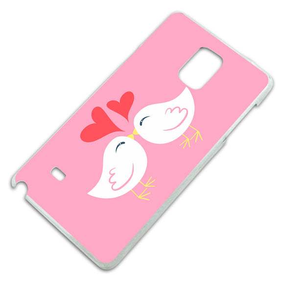Sweet Kissing Birds in Love Pink Slim Fit Hard Case Fits Samsung Galaxy Note 4