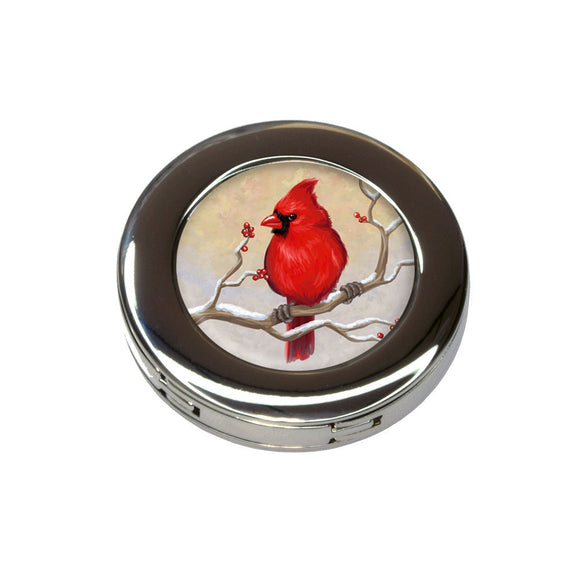 Cardinal in Winter Foldable Retractable Purse Bag Handbag Hook Hanger Holder