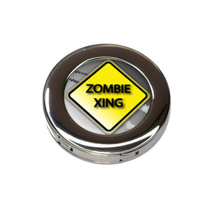Zombie Xing Crossing Stylized Yellow Grey Caution Sign Purse Handbag Hook Hanger