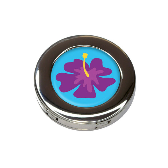 Tropical Flower Hibiscus Purple Foldable Purse Handbag Hook Hanger Holder