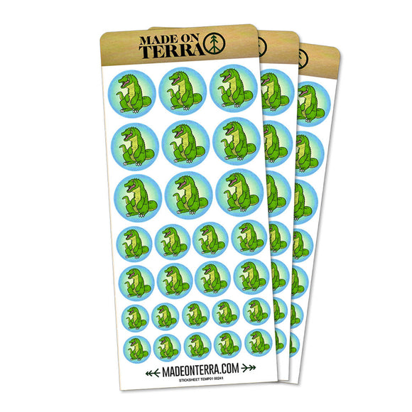 Happy Alligator Removable Matte Sticker Sheets Set