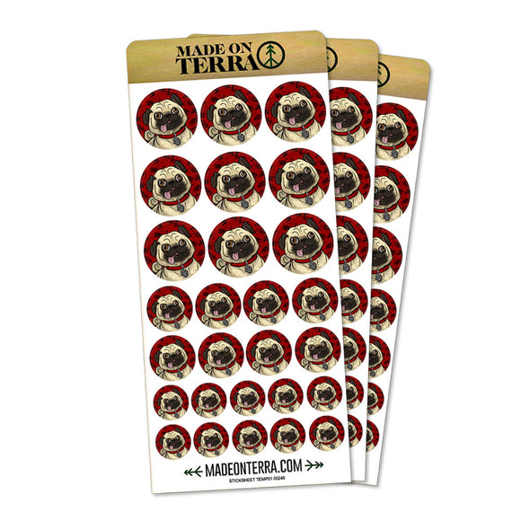 Pug Sticking Out Tongue Removable Matte Sticker Sheets Set