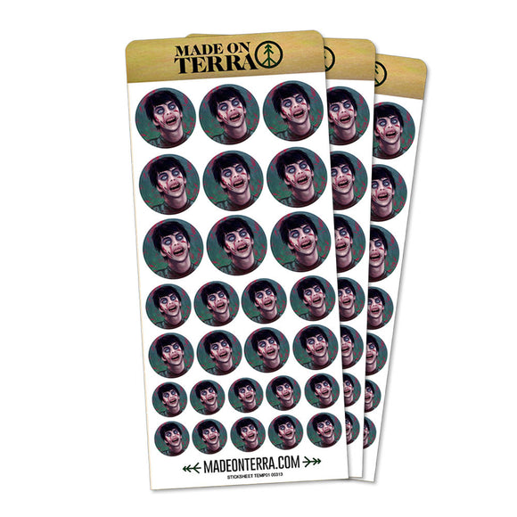 Zombified Boy Removable Matte Sticker Sheets Set