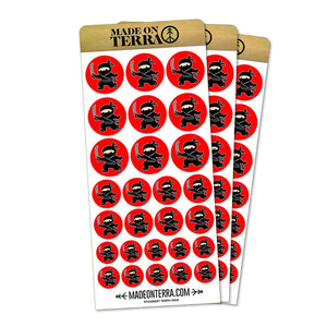 Sneaky Ninja Attacks Removable Matte Sticker Sheets Set