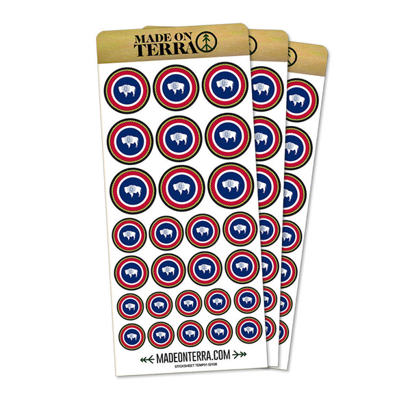Wyoming State Flag Removable Matte Sticker Sheets Set
