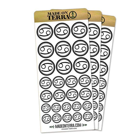 Zodiac Sign Cancer Removable Matte Sticker Sheets Set